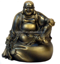 bronze laughing buddha statues,tin alloy figures,metal buddha sculpture