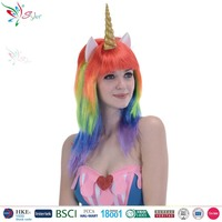 halloween party fashion rainbow wig, hot selling cosplay unicorn wig