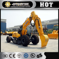 Cheap XCMG wheel excavator XE150W 15 ton 0.58m3 trench digger
