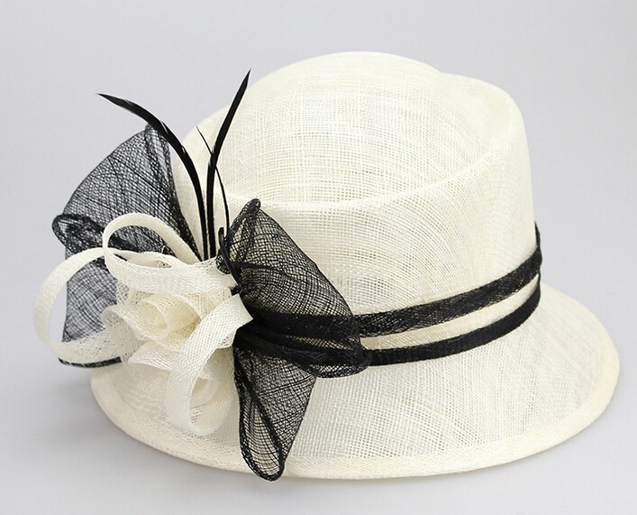 wholesale elegant quality white church hats Sinamay ladies hats for weddings