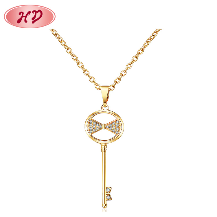 Latest Design Saudi Gold Jewelry Necklace Key Gold Necklace For Women
