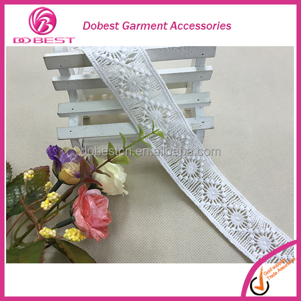 New Product In China Narrow Lace Trim Floral Embroidery 100% Cotton Lace Trim