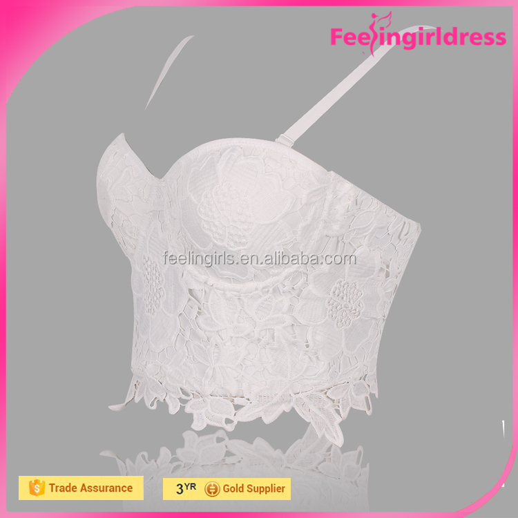 Hot selling 4 row of hooks at back white wedding corset tops