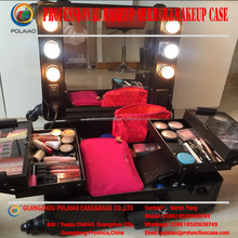 Makeup display case with led light rolling wheeled aluminum make up trolley makeup case with lights manufacturer