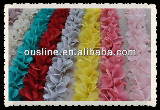 3D chiffon flower lace trim flower,handmade chiffon fabric flowers dress headware,wedding decors chiffon flower supplies