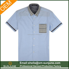 Light blue knitting collar mens casual slim fit shirts