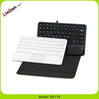 Fashion protable leather keyboard case mini wireless bluetooth keyboard with touchpad BK118