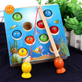 Intelligent early education magnetic wooden fishing toy for kids