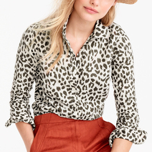 formal print animal shirt collar shirt model blouse and pants for fat women