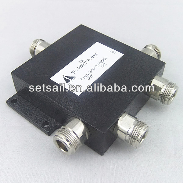 N-female connector 800-2500MHz RF Micro-strip 4 Way Power Divider Combiner