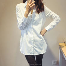 monroo Boyfriend Style White Shirt Women Casual Loose Tops Full Sleeve Turn-Down Collar Oversize Contton Long Blouse Dress