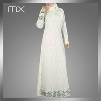 New Arrival fashion abaya white jilbab formal and party wear lace sleeve abaya jilbab islamic clothing