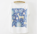 China ladies batwing sleeve fancy deer design girl summer print fashion t shirt