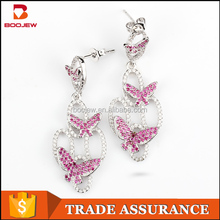 Girlfriend Gift Wholesale Simple Design Models Bali Jewelry New Arrival Anime Fashion Pink Butterfly Earring