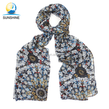 Women Fashion cheap floral scarf mix-color long voile scarf