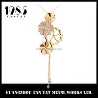 latest fashion design Lotus leaf shaped crystal pendant necklace