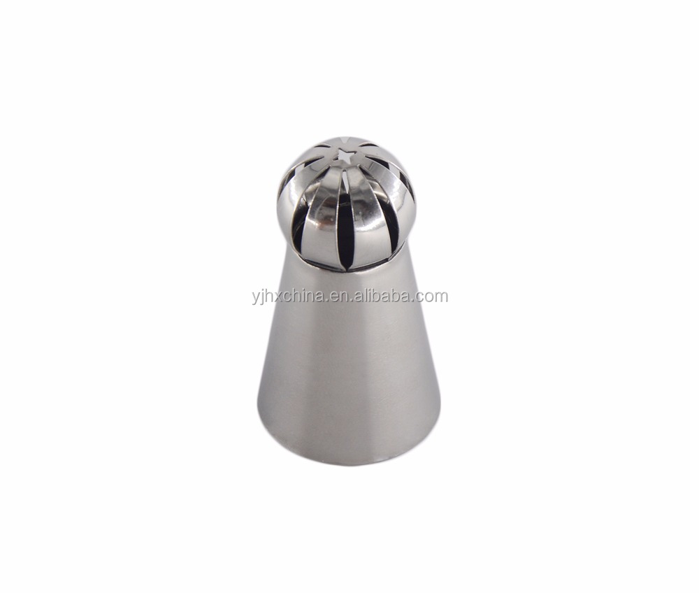 Food grade easy using 304 stainless steel russian piping tip ball nozzle cake tools perfect for dessert DIY decorating