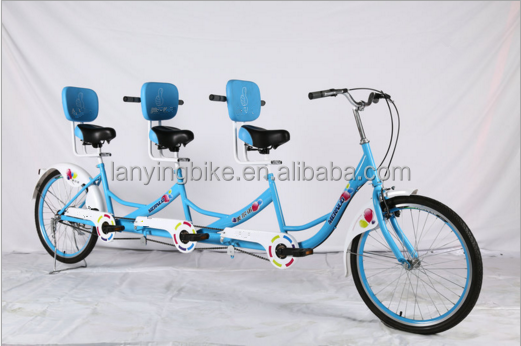 wholesale touring four wheel tandem bike for 3 person/bestselling sightseeing bicycle for adult/surrey bike