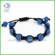 Wholesale - 12pcs shamballa shambala bracelets Macrame Light blue disco ball beads crystal Friend bracelets