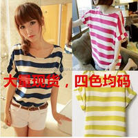Fashion Printed stripe cheaper blouse Fancy Tops for Women 2016