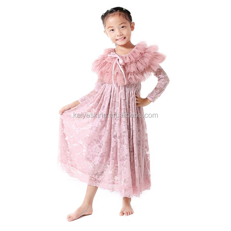 fashion light pink lace and shawl two pieces dress baby wedding dress girls