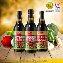 Naturally fermented superior mushroom soy sauce in glass bottle
