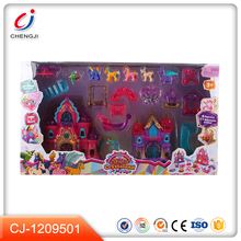 High quality light and music play set plastic girls princess castle toy