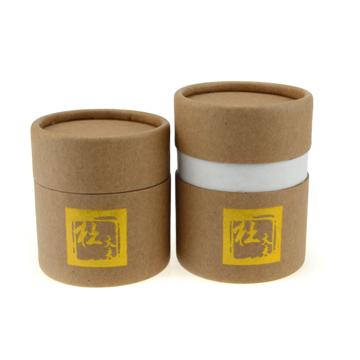 Gold stamping round cylinder cardboard box custom paper tube package
