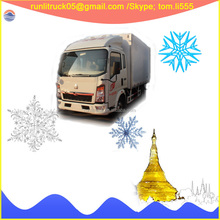 China sinotruck howo ZZ1047D3414D145 diesel refrigerated cold room van truck 4*2 5cbm for sale in togo