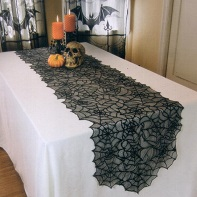 Halloween black lace spider web lace mantle scarfs With Lighted For Fireplace 18 by 96 inch