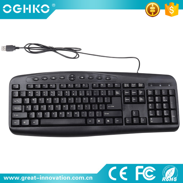Stable quality OEM multimedia USB latest wired computer keyboard with 107keys