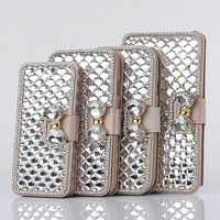 Bling Bow Crystal Glass Scales Diamond Cell Phones Cases Leather Wallet Cover Back For Apple iPhone 4/4s/5/5s/5c