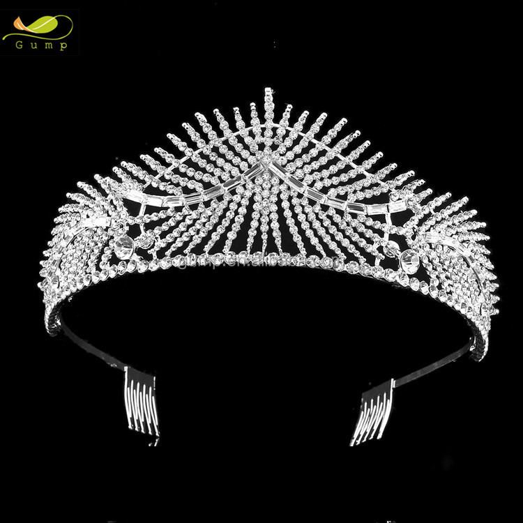 Bridal Tiara Beauty Pageant Crowns Women Crystal Tiara With Comb