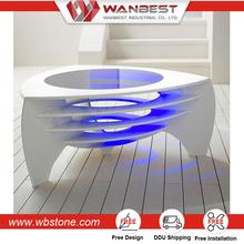 2017 Newest design made by artificial stone white glossy color touch screen coffee table