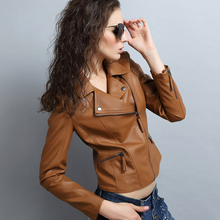 Fashion New Womens Slim Biker Motorcycle Jacket Coat PU Soft Leather Zipper Custom Color Jackets