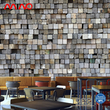 Rustic feel interior wall murals decorative veneer cork wood effect wallpaper