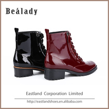 Wholesale Fashion Women Low Heel Leather Ankle Boots Shoes