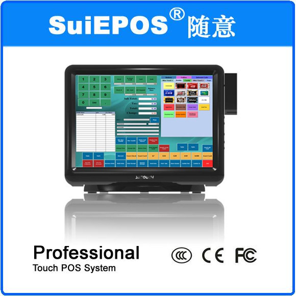 15inch All in one touch screen restaurant pos system with restaurant pos software