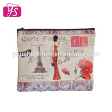 leather printing vintage cosmetic bag wholesale for lady