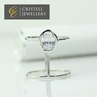 Simple design elegant big cz stone pave wedding rings in brass or 925 sterling silver with platinum plating for woman