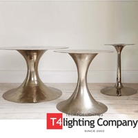 Spun metal stainless steel or chrome dining table base