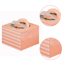 Colorful cute spot color printing eco-friendly customized empty cake packaging cardboard box with handle