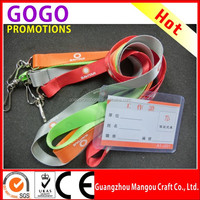 Personalized low price high quality silk printed nylon lanyard with hard plastic id card holder