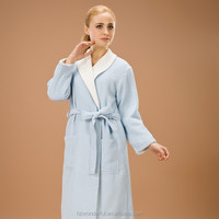 blue double layer waffle bathrobe/ robe de mariee/wholesale clergy robes