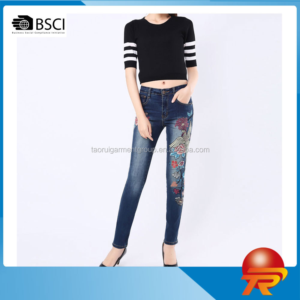 fashion slim fit straight leg high waisted embroidered denim pants casual women's jeans trousers lady wear TR3-3217
