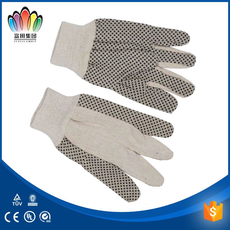 2017 FUTIAN index finger and thumb canvas gloves,white cotton canvas with black PVC dots gloves