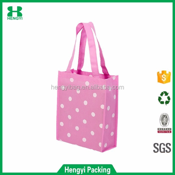 Wholesale cute pink dots print folding non woven shopping tote bag for girls christmas gift packing