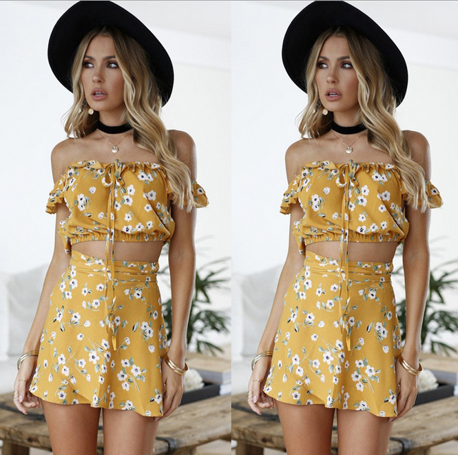 X84780A fashion sexy floral print tube crop top and skirt set for ladies dresses