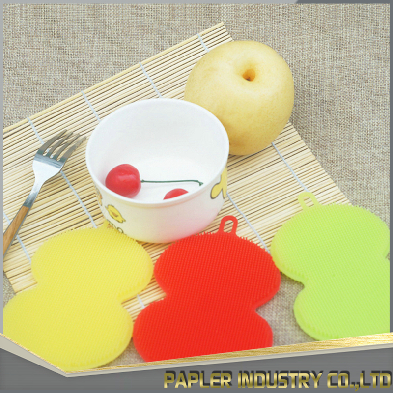 Hot Selling 2017 Amazon Kitchen Silicone Dishwashing Scrubber for Washing Pot, Pan, Bowl, Fruit and Vegetables
