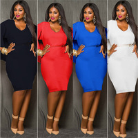 2018 Sexy Deep V Neckline Fashion Women Clothing Plus Size Ladies Dresses